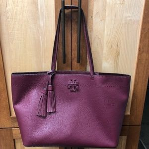 Tory Burch McGraw Leather Tote Imperial Garnet Red